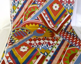 3 Yds Op Art Retro Fabric, Bright Remnant, Screen Printed Fabric, Sewing Material