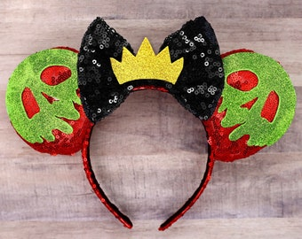 Evil Queen Mickey Ears Snow White Minnie Mouse Ears, Poison Apple Ears, Halloween Minnie Ears Disney Ears Crown Halloween Mickey Mouse Ears