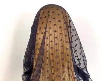 Black infinity chapel veil, polka-dot mantilla