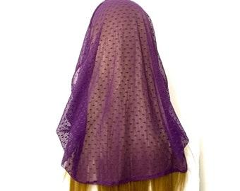 Purple infinity chapel veil, Advent/Lent mantilla
