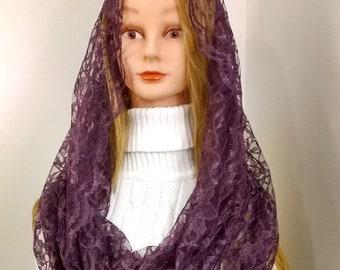 Alexandra purple infinity chapel veil, Advent/Lent mantilla