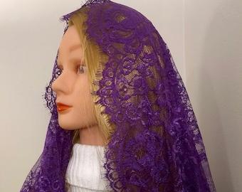 Andrea purple infinity chapel veil, Advent/Lent mantilla