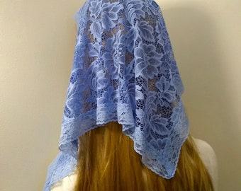 Maria Veil,  blue mantilla, triangular chapel veil