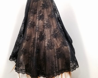 St Veronica Veil, black, half circle Catholic mantilla, chapel veil