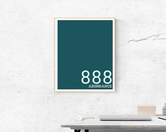 888 Motivational in Duckegg Blue | Printable Size 18x24 inches | Wall Art | Home Print | Wall Decor | Spiritual  Numerology Numbers