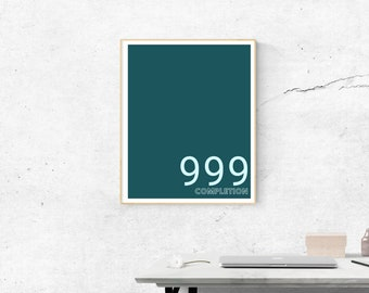 999 Motivational in Duckegg Blue | Printable Size 18x24 inches | Wall Art | Home Print | Wall Decor | Spiritual  Numerology Numbers