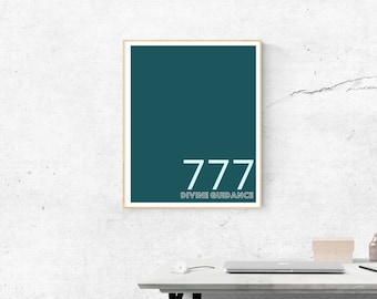 777 Motivational in Duckegg Blue | Printable Size 18x24 inches | Wall Art | Home Print | Wall Decor | Spiritual  Numerology Numbers