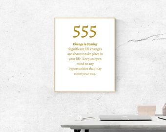 555 Angel Number Meaning | Printable Size 18x24 inches | Wall Art | Home Print | Wall Decor | Spiritual Numbers | Numerology - Home Decor