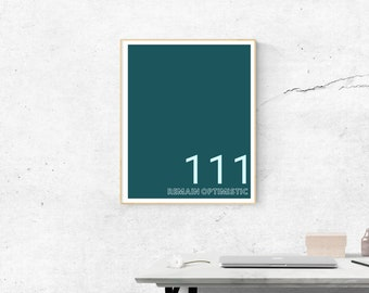 111 Motivational in Duckegg Blue | Printable Size 18x24 inches | Wall Art | Home Print | Wall Decor | Spiritual  Numerology Numbers