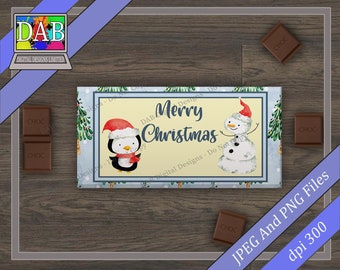 Christmas Chocolate Bar Wrapper Designs Santa Gingerbread Elves Snowman