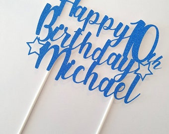 Personalized/Custom Happy Birthday Cake Topper with name-age