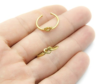 17 to 22mm Raw Brass Rings, Adjustable Crispy Ring, Auger Heart model, Adjustable Ring,  Brass Stacking Rings, MAY0025
