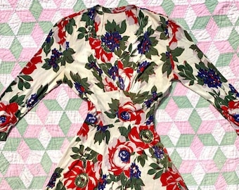 1940s Rayon Jersey Floral Dress Size Small