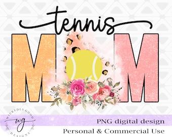 Tennis Mom Png | Tennis Sublimation |  Leopard Print Sublimation | Watercolor Floral Design | Sports Sublimation | Team Designs Png