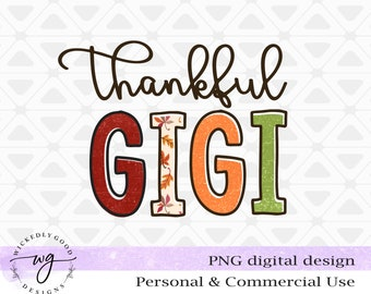 Vintage Fall Png | Thankful Gigi Png | Fall Sublimation Designs | Thankful Png | Designs Downloads | Fall Gigi Shirt Design | PNG Clipart
