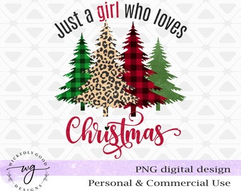 Vintage Christmas Png | Retro Christmas Sublimation | Just a Girl Who Loves Christmas Png | Designs Downloads | Christmas Shirt Design | PNG