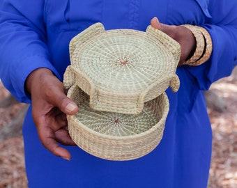 Sweetgrass elephant ears covered basket