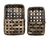 2 Set, Aged Tobacco Wall Pocket Baskets, hanging wall pocket baskets, tobacco basket with pocket, wall baskets decor, woven pocket basket