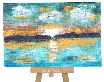 Mini acrylic paint, 10 x 15 cm, cardboard, with mini easel, setting sun landscape, for decoration living room, bedroom, office ...