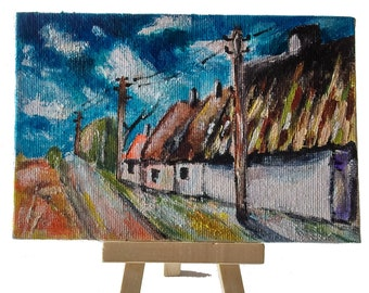 Mini acrylic paint, cardboard, 10 x 15 cm, Still life after Vlaminck, for decoration living room, living room, office etc.
