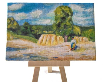 Mini acrylic paint, cardboard, 10 x 15 cm, subject after Camille Pissarro (Summer landscape), for decoration living room, living room, office