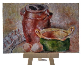 Mini acrylic paint, cardboard, 10 x 15 cm, still life after Charles Huot, for home decoration, living room, office living room etc.