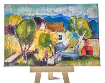Mini acrylic paint, coated cardboard, 10 x 15 cm, landscape after Henri Manguin, for home decoration, living room, office living room etc.