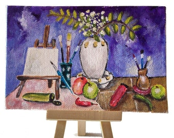 Mini acrylic paint, coated cardboard, 10 x 15 cm, Still life, for home decoration, living room, living room, office etc.