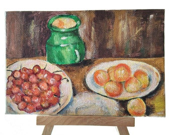 Mini acrylic paint, coated cardboard, 10 x 15 cm, Still life after Paul Cézanne, for decoration living room, living room, office etc.