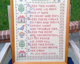 Vintage Needlepoint Framed Poem