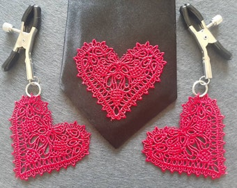 Nipple clamps with lace heart pendants and matching neck tie, set of 2 non piercing adjustable nipple clamps, BDSM clamps, clips