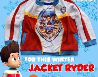 Paw Patrol Jacket Ryder, Jacket Halloween Costume, Vest Ryder, Jacket Paw patrol Party Halloween Gift, Size  18M-2T-3T-4T-5T-6T- YOUTH XS