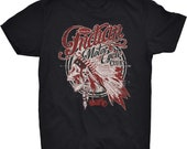 Indian Motorcycle Club Skull T-shirt Skeleton Native Americans USA Tribal Feathers Tribe Chief Rebel Rider Mechanic Garage Easy Rider