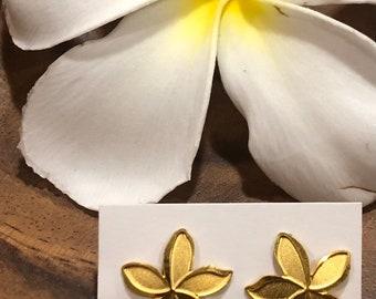 Lam Gold Plumeria Earrings Secondhand