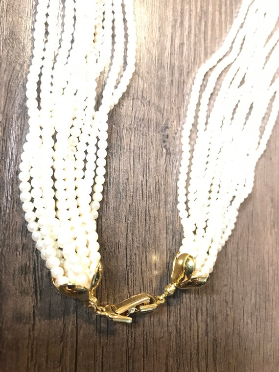 Vintage 11 strand faux pearl necklace - image 3