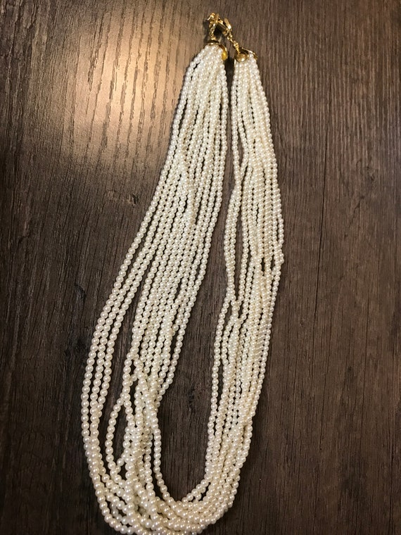 Vintage 11 strand faux pearl necklace - image 2