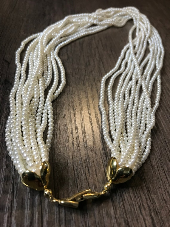 Vintage 11 strand faux pearl necklace - image 4
