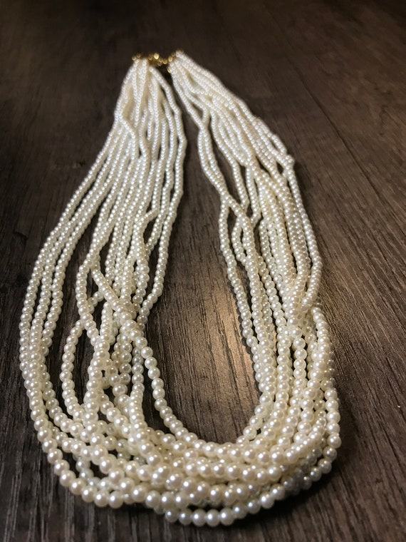 Vintage 11 strand faux pearl necklace - image 1