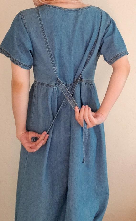 Vintage 80s Cottagecore Dress, 90s, cotton, denim… - image 6