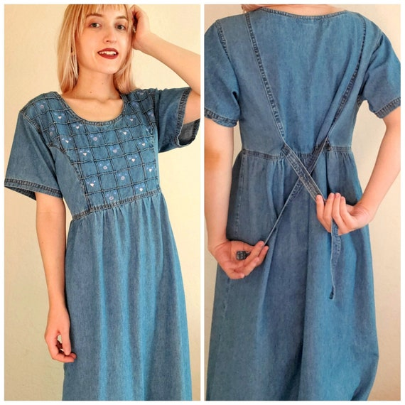 Vintage 80s Cottagecore Dress, 90s, cotton, denim… - image 1