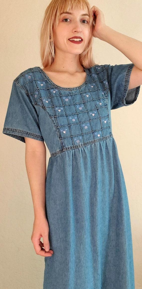 Vintage 80s Cottagecore Dress, 90s, cotton, denim… - image 5