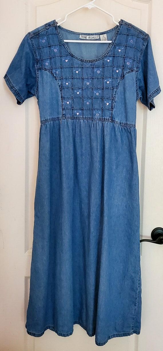 Vintage 80s Cottagecore Dress, 90s, cotton, denim… - image 7