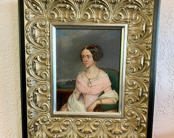 Antique Framed Oil Painting on Board Portrait Aristocratic Italian Woman