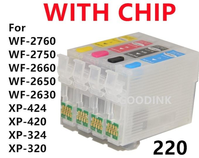 4pk EMPT Refillable Ink Cartridge alternative for Epson WF2760 WF2750 WF2660 WF2650 WF2630 XP424 XP420 XP324 XP320 T220 220 XL With chip