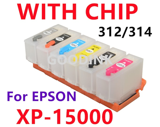 6pk Empty Refillable Ink Cartridge for Epson XP-15000 Printer T312 T314 312 314 XL with single use chips