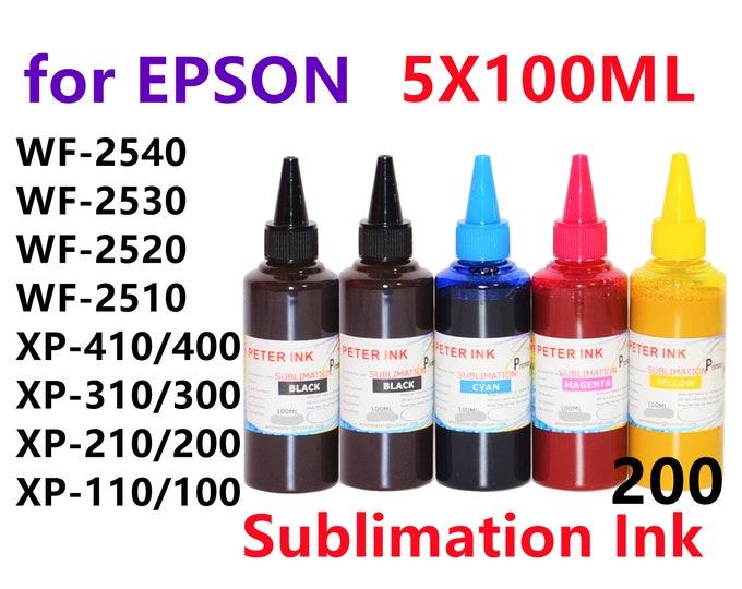 5X100ML Sublimation Ink for Epson wf-2540 wf-2530 wf-2520 wf-2510 xp-410 xp-400 xp-310 xp-300 xp-210 T200 200 Refillable ink cartridges CISS