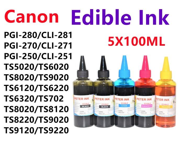 5X100ML Edible refill Ink for Canon Printer TS5020 TS6020 TS6120 TS6220 TS6320 TS702 TS8020 TS8120 TS8220 TS9020 TS9120 TS9220