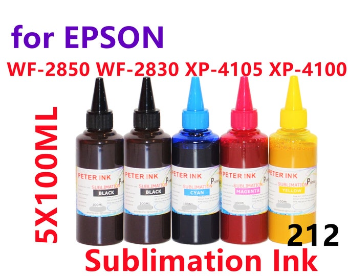 5X100ML Sublimation Ink for Epson WF2850 WF2830 XP4105 XP4100 Printer T212 212 Refillable ink cartridges CISS for heat press
