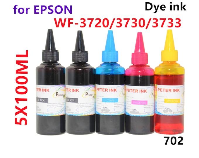 5X100ml Regular Dye Ink for Epson Wf-3720 Wf-3730 Wf-3733 Printer T702 702 Refillable ink cartridges CISS