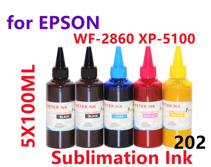 5X100ML Sublimation Ink for Epson WF2860 XP5100 Printer T202 202 Refillable ink cartridges CISS for heat press